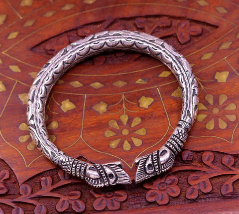 925 sterling silver handcrafted crocodile face vintage antique design chitai work bangle bracelet kada unisex ethnic tribal jewelry nsk230