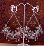 925 sterling silver handmade turquoise and coral stone fabulous long charm earring stud, drop dangle chandbala chandelier style jewelry s723