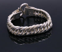 "8"" solid long Vintage antique cuban link chain 925 sterling silver bracelet, excellent unisex gifting custom made jewelry from india sbr151"