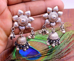 925 sterling silver jhumki stud earring with fabulous hanging drop bells, attractive flower design vintage design modern trendy jhumki s762