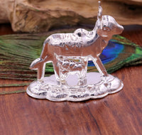 Vintage antique design handmade Kamdhenu Cow with Calf sterling silver statue art sculpture, silver figurine hope temple art decor cox sst10