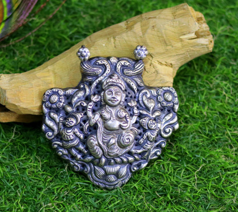 925 sterling silver Goddess Laxmi pendant, oxidized custom made bridesmaid gifting pendant necklace tribal temple jewelry nsp333