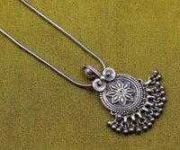 Vintage design handmade 925 sterling silver flower pendant, charm pendant,excellent oxidized necklace tribal ethnic temple jewelry nsp343
