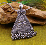 925 Sterling silver large drop dangle charm pendant, peacock pendant tribal ethnic necklace, wedding party gifting boho jewelry india nsp355