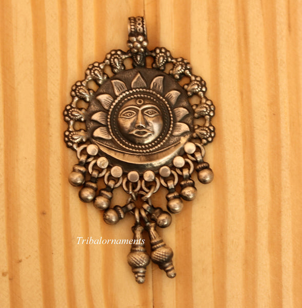 925 solid sterling silver handmade amazing sun face design customized tribal pendant necklace with fabulous hanging bells jewelry nsp362