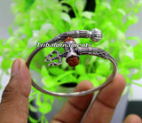 Lord Shiva 925 sterling silver handmade Rudraksha bangle bracelet excellent customized unisex wrist temple jewelry, excellent gifting nsk236