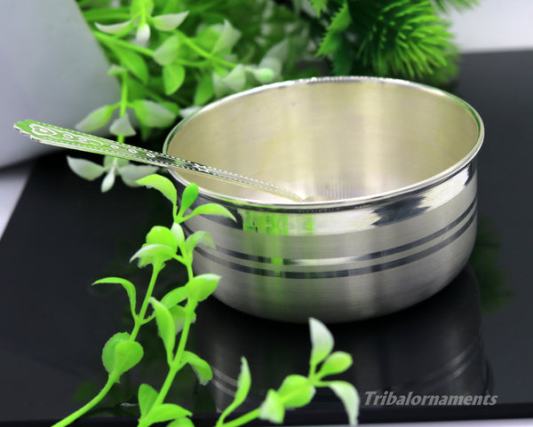 999 pure sterling silver handmade solid silver bowl and spoon, silver has antibacterial properties, keep stay healthy, silver vessels sv22