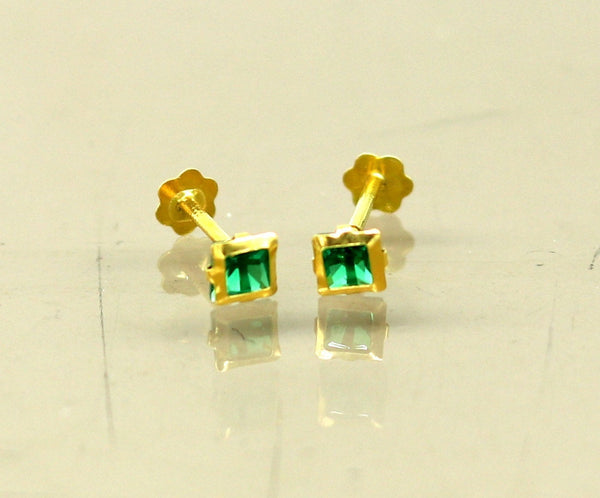 3.5mm tiny single Green stone handmade 18kt yellow gold combo jewelry we can use as stud or nose stud , baby stud cartilage jewelry er110