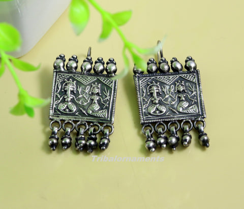 925 sterling silver handmade vintage tribal deity design excellent customized hoops earring with gorgeous hanging drops tribal earrings s829