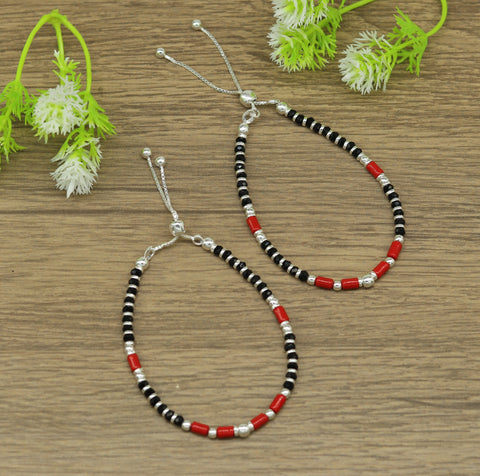 7 inches long handmade 925 sterling silver fabulous silver beads, black and red beads stone charm adjustable customized bracelet sbr167
