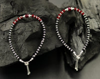 6 inches long handmade 925 sterling silver fabulous silver beads,red beads stone charm adjustable customized bracelet best girls gift sbr168