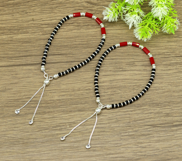 7 inches long handmade 925 sterling silver fabulous silver beads, red and black stone charm adjustable customized bracelet for girl's sbr169