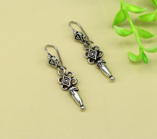 925 sterling silver handmade fabulous light weight customized earring hoops, excellent drop dangle girl's gifting tribal jewelry s877