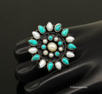 925 sterling silver handmade fabulous ring with gorgeous turquoise stone and pearl, gorgeous adjustable customized ring unisex jewelry sr263