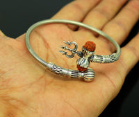 Vintage design pure 925 silver fabulous customized lord shiva bangle bracelet, excellent trident trishul rudraksha unisex jewelry nsk344