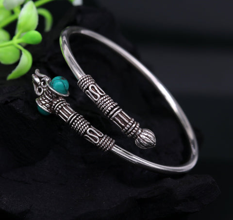 925 sterling silver handmade amazing customized lord shiva bracelet kada, excellent trident trishul bracelet unisex tribal jewelry nssk18