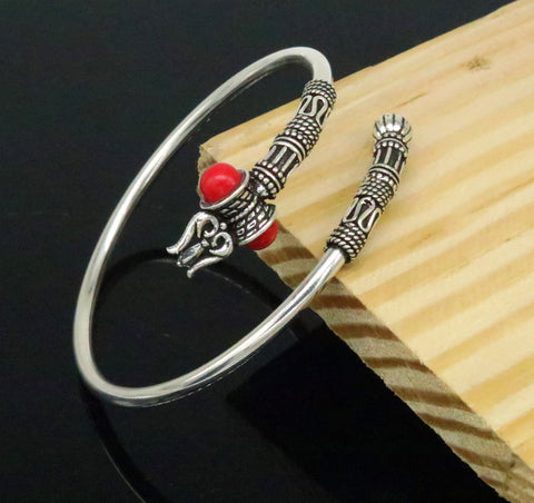 925 sterling silver handmade gorgeous customized lord shiva bangle bracelet, excellent trident trishul with coral unisex jewelry nssk14