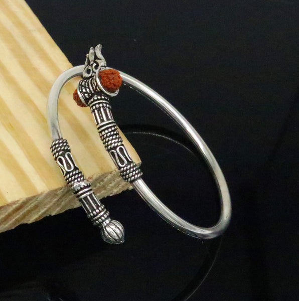 Indian God shiva Trident shape 925 sterling silver handmade gorgeous bahubali style bangle bracelet kada unisex customized jewelry nssk19