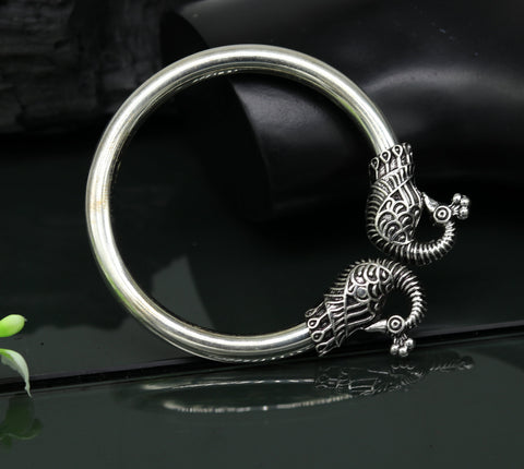 925 sterling silver handmade gorgeous hip-hop peacock design bangle bracelet kada, fabulous unisex gifting personalized jewelry nssk31