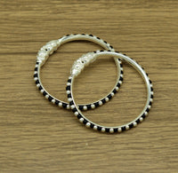 Vintage style handmade crocodile face sterling silver bangle bracelet with black and silver beads customized tribal unisex kids jewelry ba83