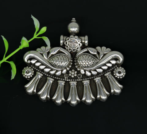 925 sterling silver handmade vintage design customized peacock pendant, amazing oxidized tribal ethnic jewelry personalized gift  nsp403