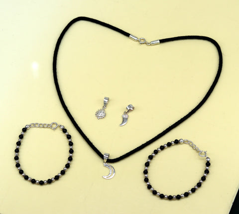 925 sterling silver handmade baby necklace pendant set with gorgeous adjustable black beads bracelet and 3 little pendants jewelry babyset1