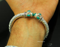 925 Sterling silver handcrafted customized bangle bracelet with blue turquoise stone, gorgeous unisex bangle kada tribal jewelry nsk278