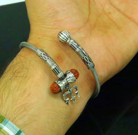 925 sterling silver handmade gorgeous customized lord shiva bangle bracelet, excellent trident trishul with rudraksha unisex jewelry nssk17