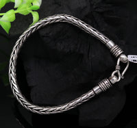 "8.8"" long 925 sterling silver handcrafted solid amazing customized wheat chain bracelet unisex personalized gift tribal jewelry nsbr29"