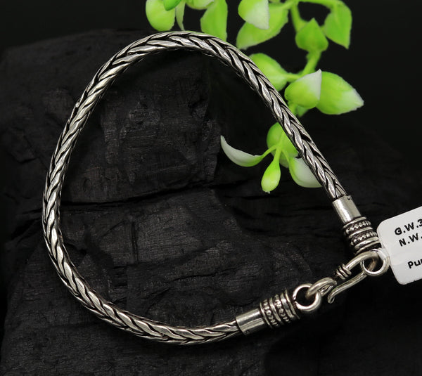 "8.5"" long handmade 925 sterling silver gorgeous customized vintage design wheat chain bracelet unisex personalized gifting jewelry nsbr35"