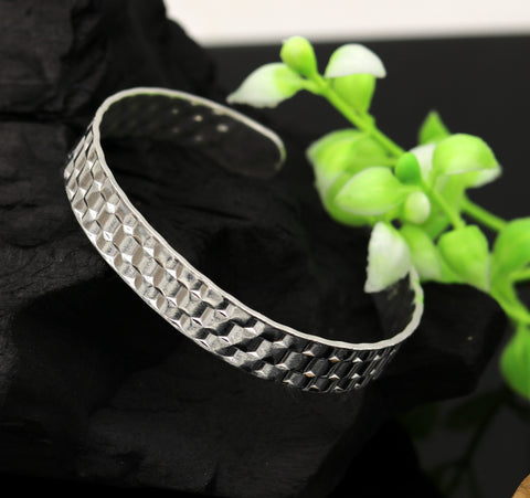 Vintage antique design handmade sterling silver open face adjustable kada bangle bracelet unisex customized stylish jewelry nsk298