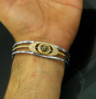 Sterling silver handmade 'Aum' design gold plated design unisex bangle bracelet kada, awesome adjustable customized gifting jewelry nsk304