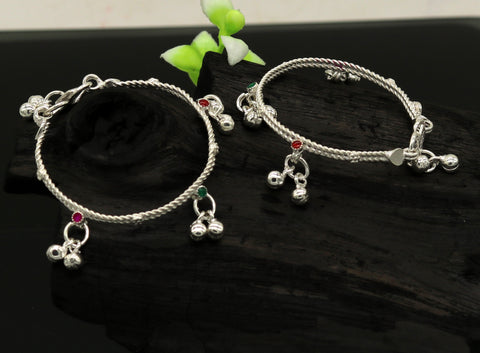 "5"" Handmade solid silver new born baby anklet charm ankle bracelet kada, gorgeous hanging noisy bells, excellent unisex foot bracelet ankb7"