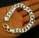 "9"" inches long Handmade solid silver customized heavy design unisex bracelet, gorgeous personalized gifting chain bracelet nsbr153"