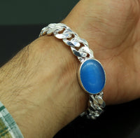 "8.2"" inches long Handmade solid silver customized chain heavy vintage  design blue stone personalized gifting bracelet nsbr150"