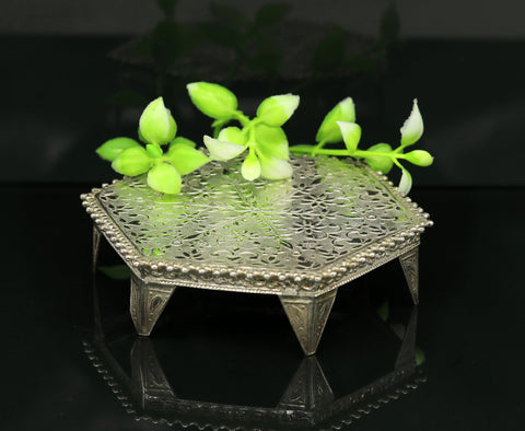 Sterling silver handmade solid silver gorgeous silver handcrafted customize mini table/bazot, excellent home puja utensils temple art nsv83