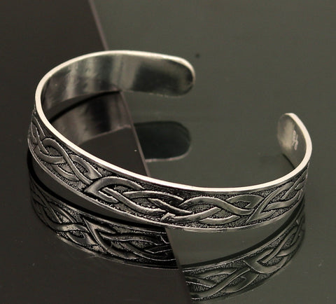 Vintage antique design handmade sterling silver open face adjustable trident kada bangle bracelet unisex customized stylish jewelry nsk300