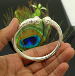 Solid silver handcrafted vintage antique style gorgeous bangle bracelet kada, customized adjustable crocodile bracelet for men's  nssk242