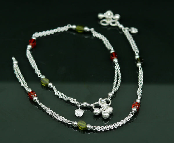 10.2inches long handmade solid silver flexible chain ankle bracelet, excellent stone customized anklets foot bracelet belly dance nank189