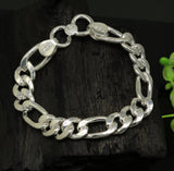"9"" inches long Handmade solid silver customized Figaro chain heavy vintage design unisex bracelet, personalized gifting bracelet nsbr154"