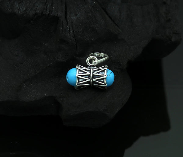 Solid silver handmade Lord shiva Damaru shape pendant excellent unisex customized pendant for gifting tribal jewelry ssp313
