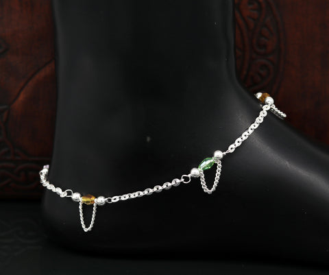 "10"" 925 sterling silver handmade customized curb chain ankle bracelet, anklets, fabulous bridesmaid charm anklet tribal belly dance nank230"