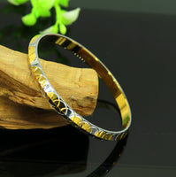 Solid silver handmade gorgeous plain customized gold polished bangle bracelet kada, punjabi sikhha kada unisex jewelry nssk218