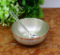999 pure sterling silver handmade solid silver bowl and spoon, silver has antibacterial properties, keep stay healthy, silver vessels sv66