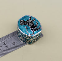 925 Sterling silver handmade fabulous trinket box, solid container box, casket box, sindoor box, enamel work customized gifting box stb3