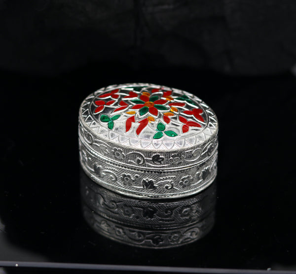 925 solid silver trinket box, kumkum box/casket box bridal gifts enamel jewelry box, container box, jewelry box, silver utensils stb51
