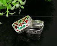 Enamel floral work 925 solid silver utensils trinket box, casket box, container box, jewelry box, silver utensils, vessels bridal gift stb60