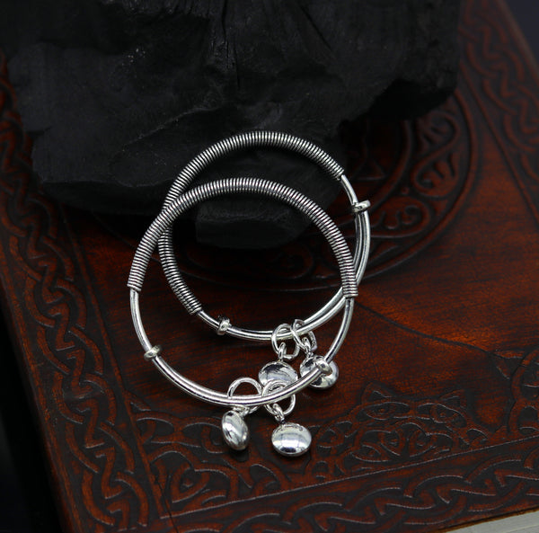 925 sterling silver handmade unique tribal style baby bangles bracelet, unisex new born baby gifting kids jewelry charm jewelry bbk80