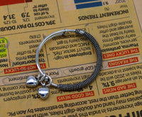Stylish charm oxidized 925 sterling silver adjustable baby solid bangle bracelet, charm bangle, tribal unisex kids jewelry bbk84