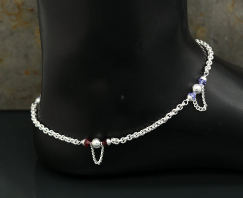 "10.0"" 925 sterling silver handmade rolo chain beaded anklet bracelet, foot bracelet, fabulous ankle chain bracelet belly dance nank216"